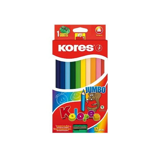 Creioane colorate Jumbo KORES cu ascutitoare inclusa