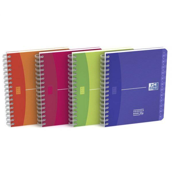 Caiet cu spirala A5, OXFORD Office MyColours Addressbook, 80 file - 90g/mp, coperta PP - dictando
