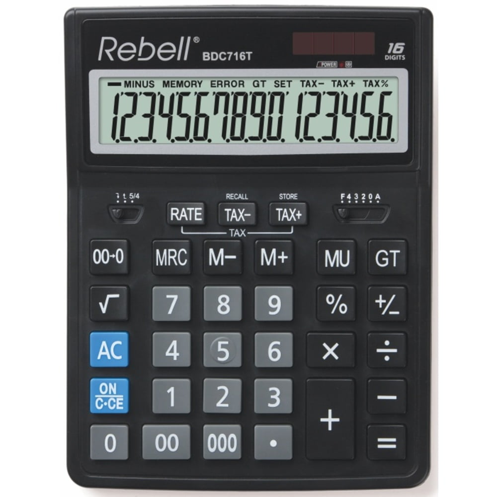 Calculator de birou 16 digiti, 206 x 155 x 35 mm, dual power, Rebell BDC 716M - negru