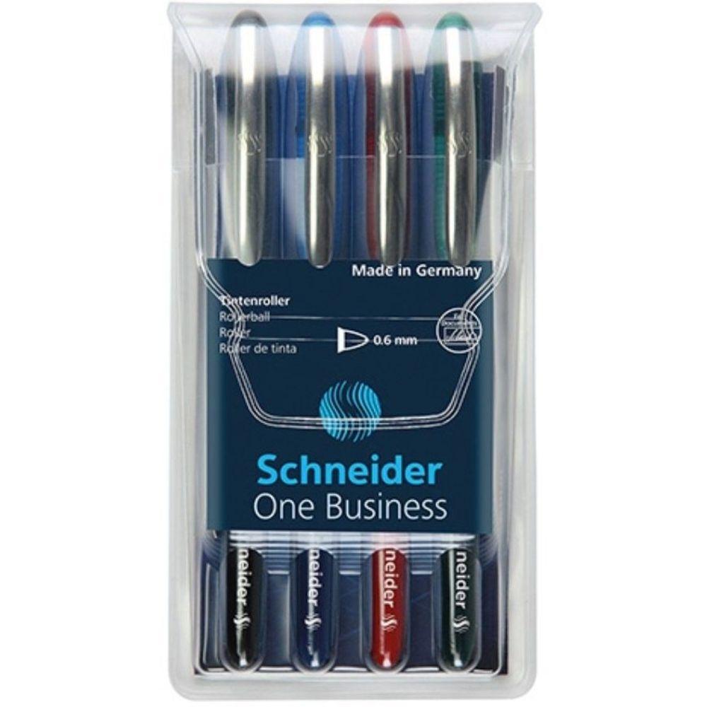 Roller cu cerneala SCHNEIDER One Business, ball point 0.6mm, 4 culori/set