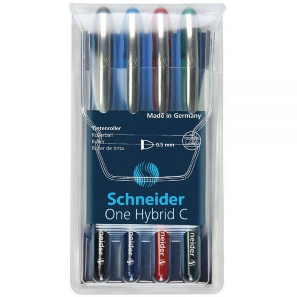 Roller cu cerneala SCHNEIDER One Hybrid C, ball point 0.5mm, 4 culori/set