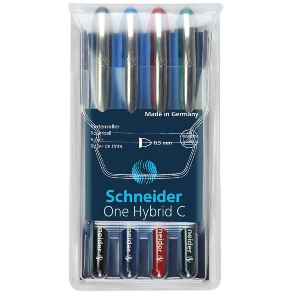 Roller cu cerneala SCHNEIDER One Hybrid C, ball point 0.5mm, 4 culori/set