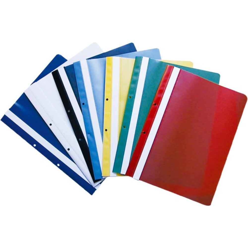 Dosar din plastic cu sina si gauri 10 buc / set diverse culori OPTIMA