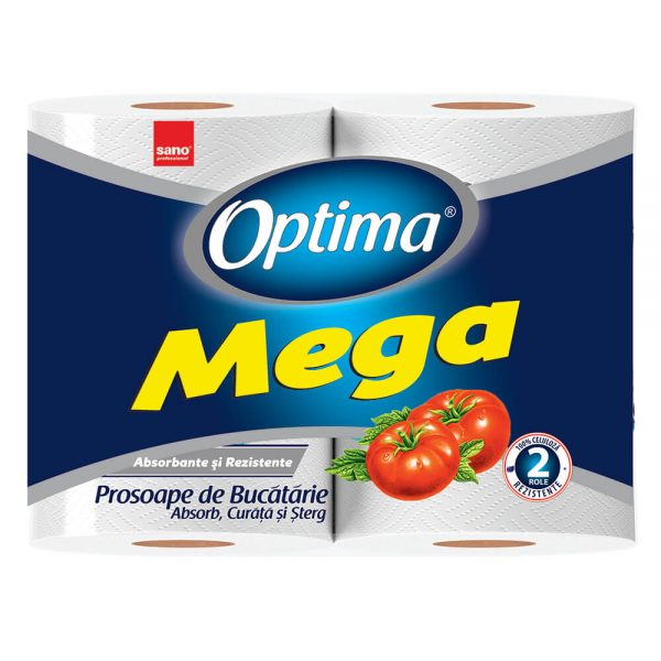 Prosop hartie SANO Optima Mega, 2 role/set