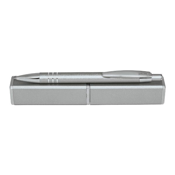 Pix cu mecanism Online Graphite, corp aluminiu, argintiu, in etui