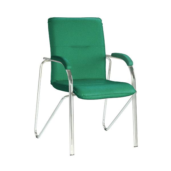 Scaun vizitator, Samba C34, stofa verde, picioare cromate