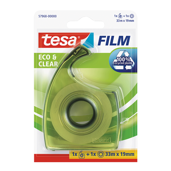 Banda adeziva Tesa transparenta, 19 mm x 33 m, cu dispenser EasyCut