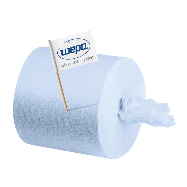 Rezerva prosoape derulare centrala Wepa, albastru 2 straturi, 150 m/rola, 6 role/bax
