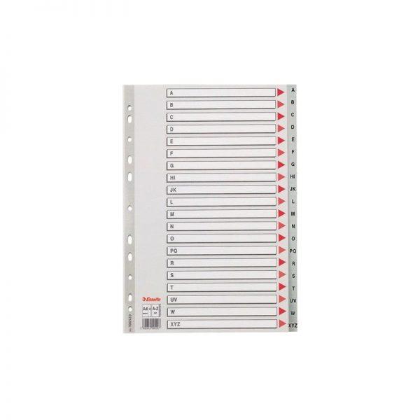 Separatoare din plastic index A-Z, A4, gri, Esselte