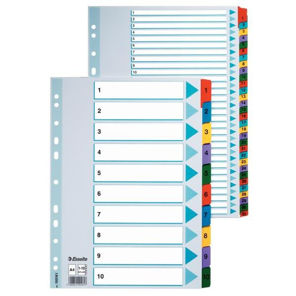 Separatoare din carton A4, index laminat 1-10, Esselte Mylar