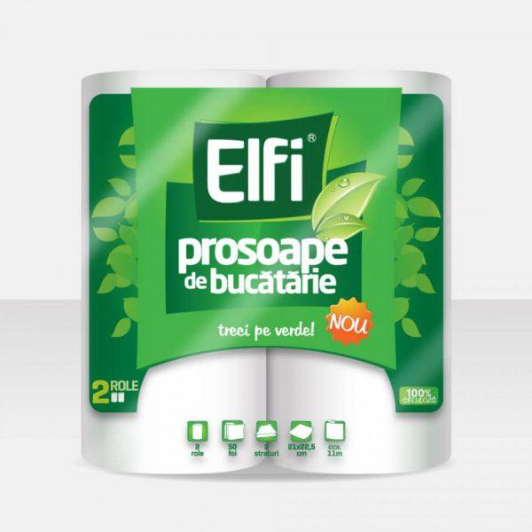 Prosop bucatarie, 2 straturi, 2 role/pachet, Elfi