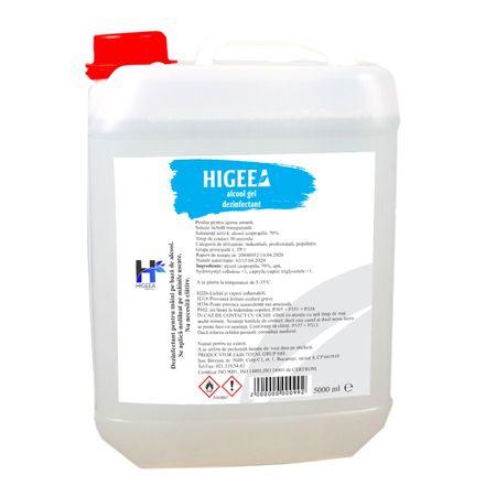 Gel dezinfectant pentru maini Higeea, alcool 70%, efect bactericid si virucid, 5000 ml