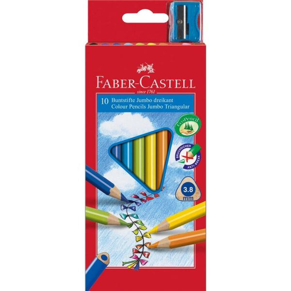 Creioane colorate 10 culori/set Jumbo + Ascutitoare Faber-Castell