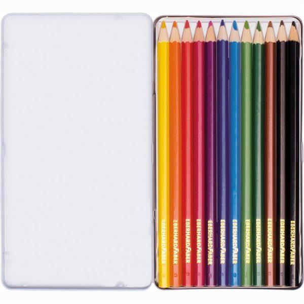 Creioane colorate 12 culori in cutie metal Eberhard Faber