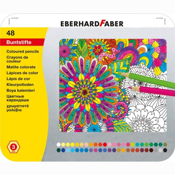 Creioane colorate 48 culori in cutie metal Eberhard Faber