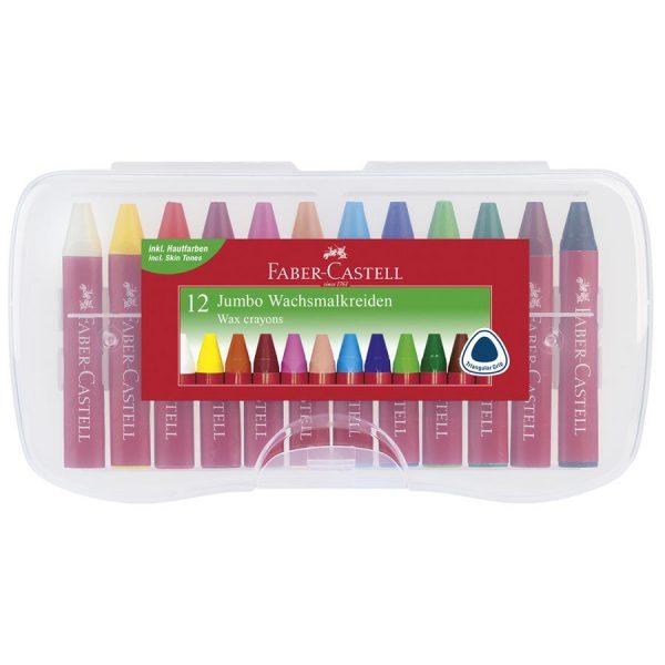Creioane cerate Jumbo Faber-Castell, cutie plastic
