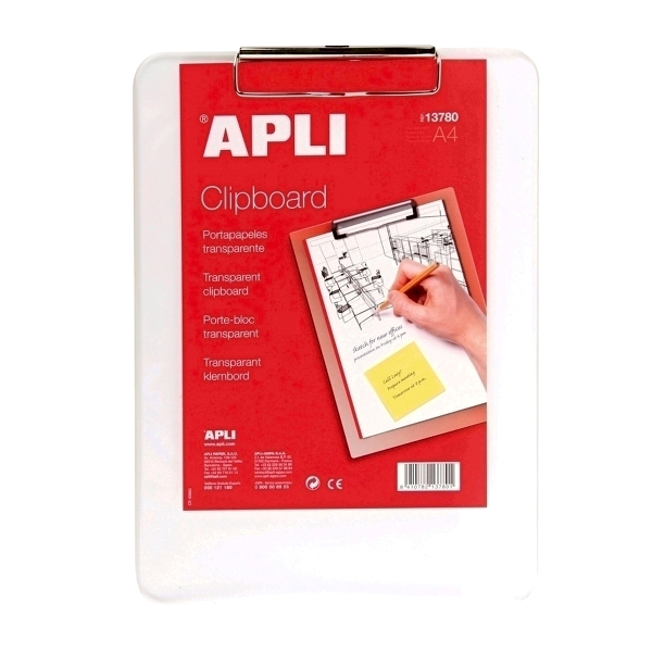 Clipboard plastic A4 APLI, transparent