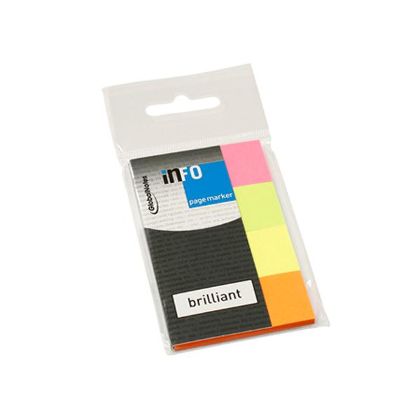 Index autoadeziv din hartie, 12 x 50 mm, 4 culori/set, 100 file/culoare