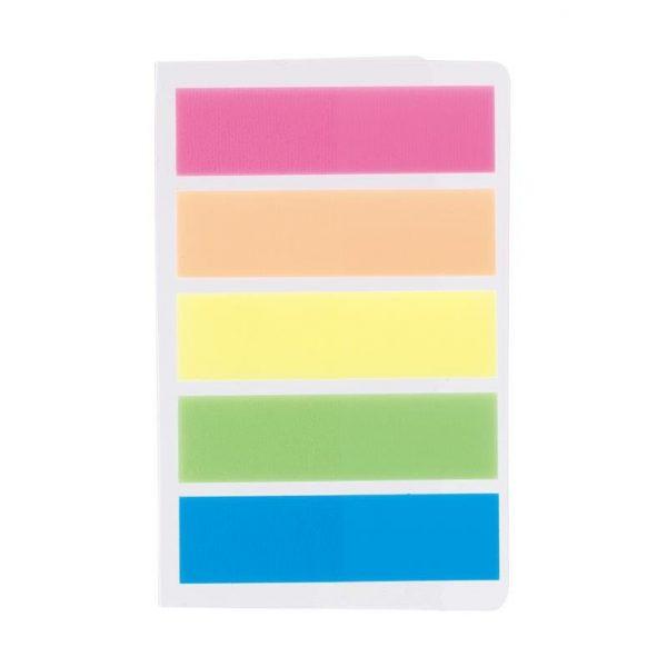 Index adeziv din plastic, 12 x 44 mm, 5 culori/set, 20 file/culoare