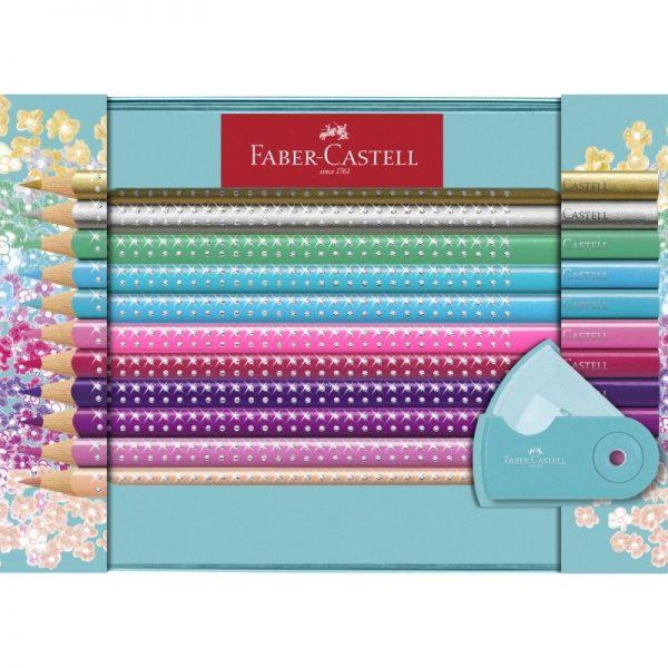 Set Cadou 20 Creioane Colorate Sparkle + Ascutitoare Sleeve Faber-Castell