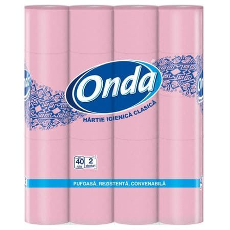 Hartie igienica Ona roz, 2 straturi, 40 role/set