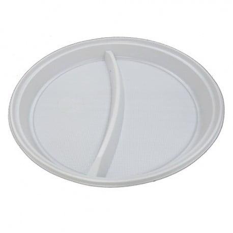Farfurii albe de unica folosinta, 21 cm, 2 compartimente