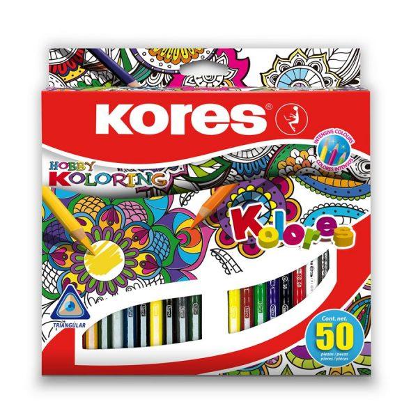 Creioane colorate triunghiulare Kores , 50 culori/cutie