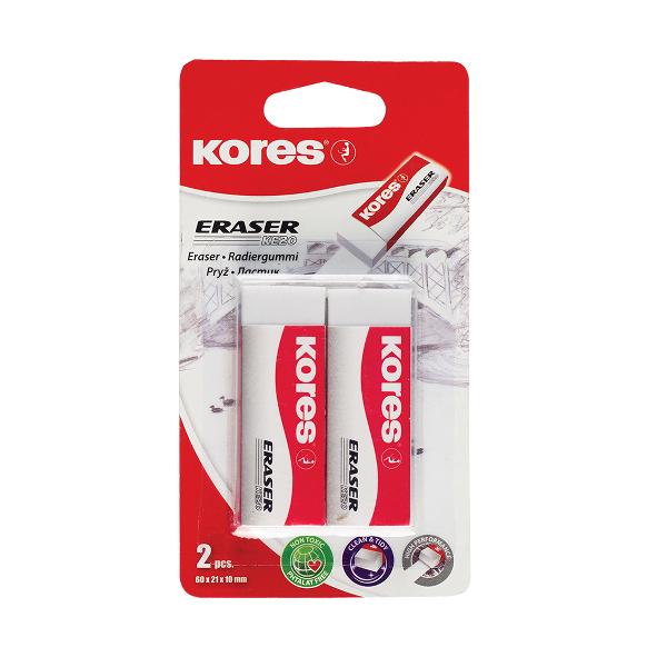 Radiera alba Kores KE-20, 60 x 21 x 10 mm, 2 pe blister