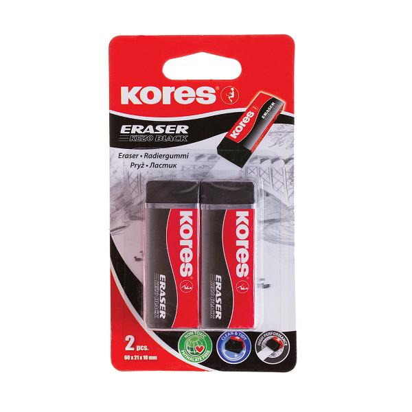Radiera neagra Kores KE-20, 60 x 21 x 10 mm, 2 pe blister