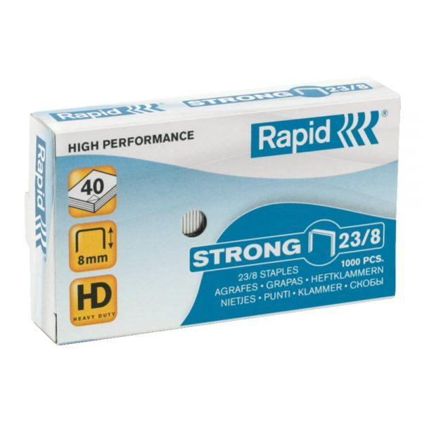 Capse RAPID Strong 23/ 8, 1000 buc/cutie - pentru 10-40 coli