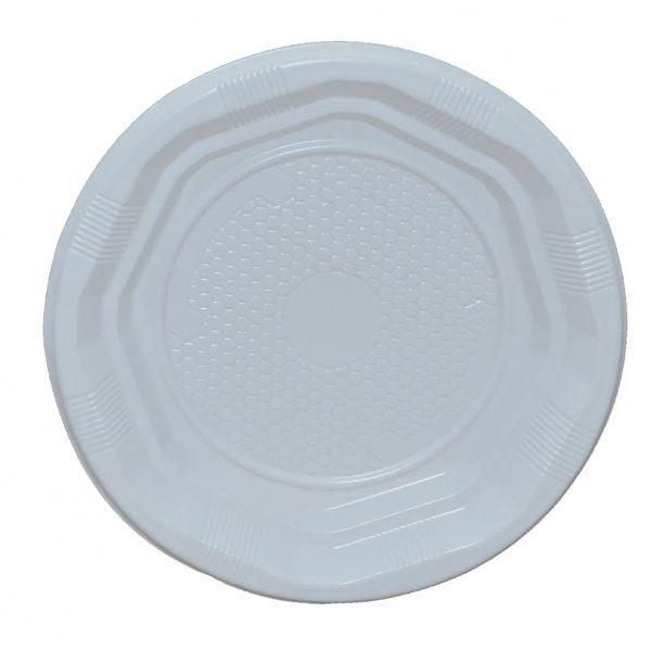 Farfurii albe de unica folosinta, 17cm, plastic, 50 buc/set