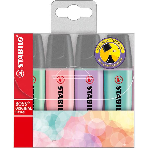 Textmarker Stabilo Boss Pastel, varf retezat, 2-5 mm, 4 bucati/set
