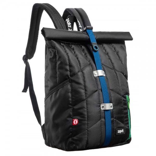 Rucsac ZIPIT Puffer Premium - negru cu banda gri/albastra