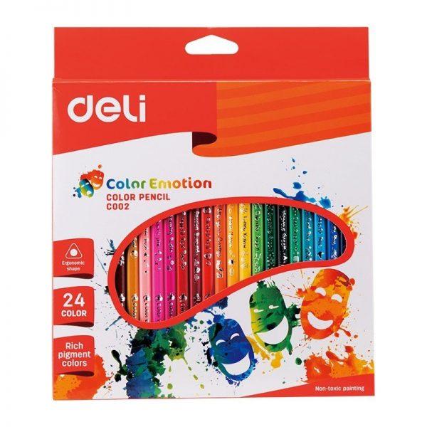 Creioane colorate 24 culori Deli Emotion