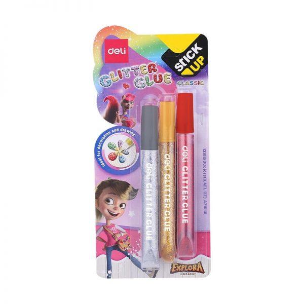 Lipici Glitter 3 culori clasice x 12 ml DELI