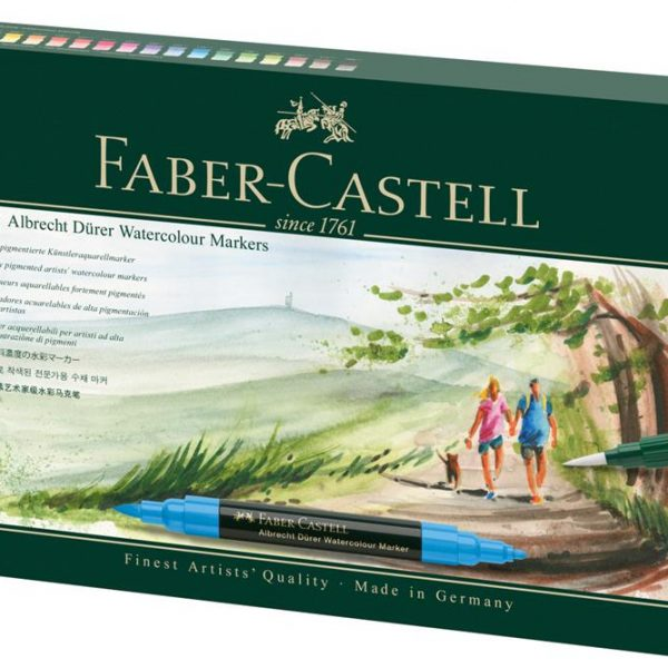 Markere pensula cu 2 capete acuarela FABER-CASTELL Albrecht Durer Watercolour, 16 culori/cutie