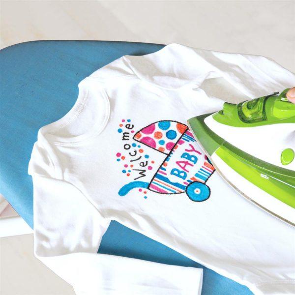 Markere pentru textile, varf tesit, 5 culori/set FABER-CASTELL Baby