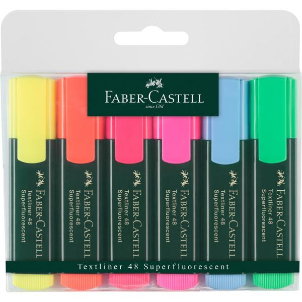 Textmarker 1548 Faber-Castell, varf tesit 1-5mm, 6 culori/set