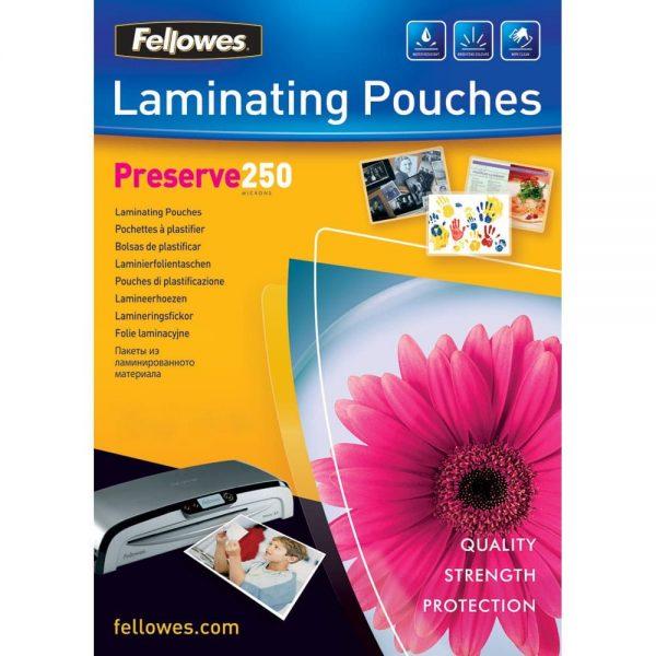 Folie pentru laminare A4 Fellowes, 250 microni, 100 coli/top