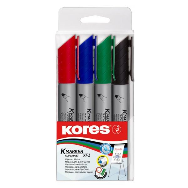 Marker flipchart 3mm, 4 buc/set, Kores