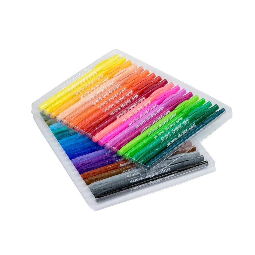 Carioca cu 2 capete, varf liner 0.7mm/tip pensula, 36 culori/set, ALPINO Dual Artist