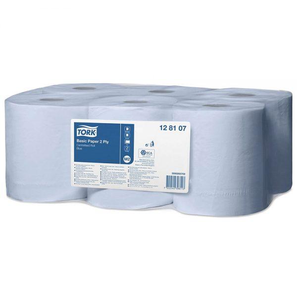 Prosop hartie albastru cu derulare centrala, 2straturi, 150m, 6role/bax Tork 128107