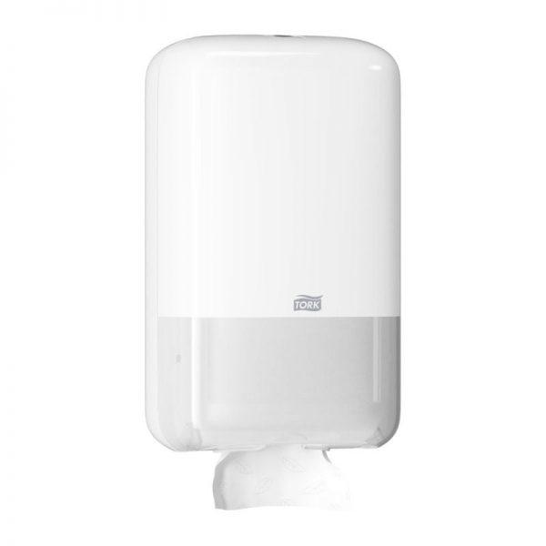 Dispenser din plastic pentru hartie igienica portionabila, alb,  Tork 556000
