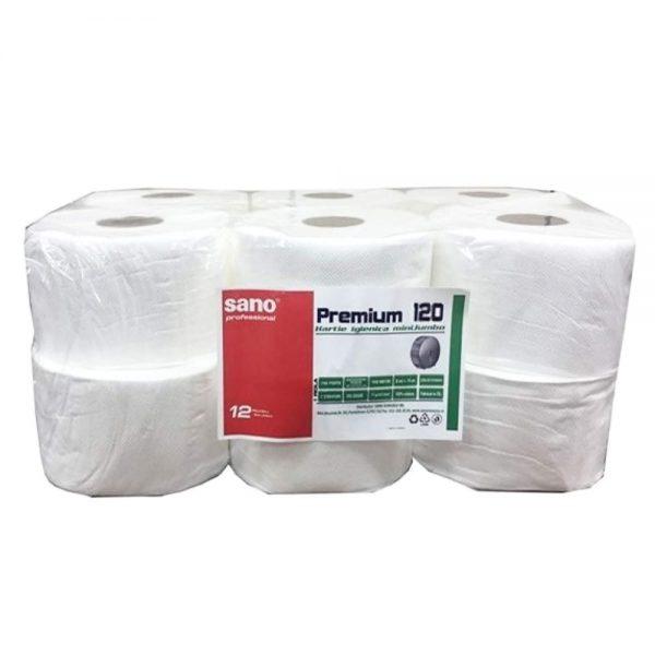Hartie igienica jumbo, SANO Professional Premium, 2 straturi, 120 m/rola, 12 role/set