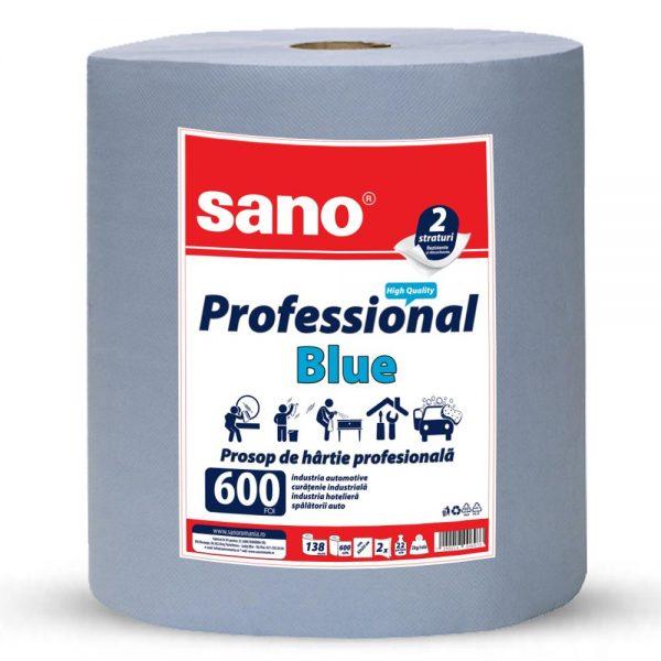 Prosop hartie albastru industrial, 2 straturi, SANO  Professional Blue 600