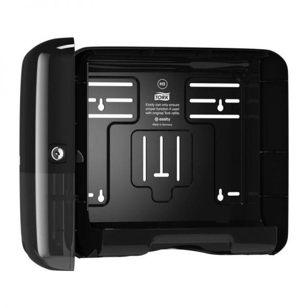 Dispenser din plastic negru pentru servetele in V, 291x135x332mm, Tork 553108