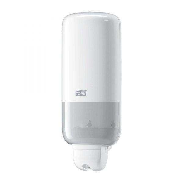 Dispenser din plastic alb pentru sapun lichid, 1L, Tork 560000