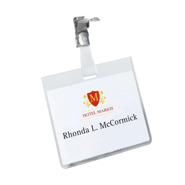 Ecuson  orizontal cu clip, 60 X 90 mm 25 buc/cutie Durable
