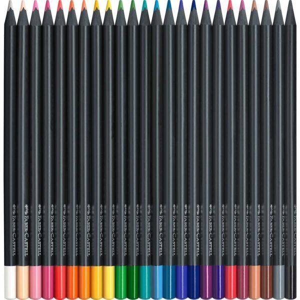 Creioane colorate Faber-Castell Black Edition, 24 culori/set