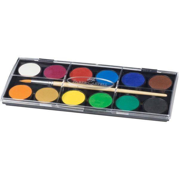 Acuarele 12 culori 24mm Pensula Faber-Castell